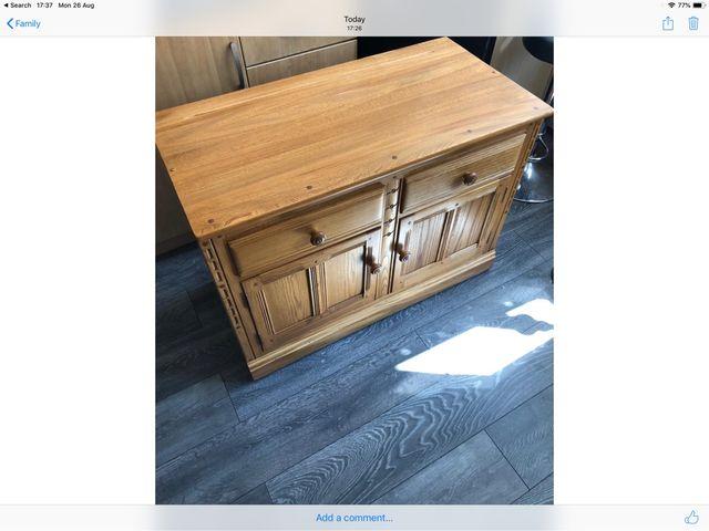 Solid pine engraved 2 door 2 drawer wood s