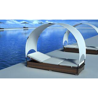 vidaXL Tumbona de ratán con parasol 40455