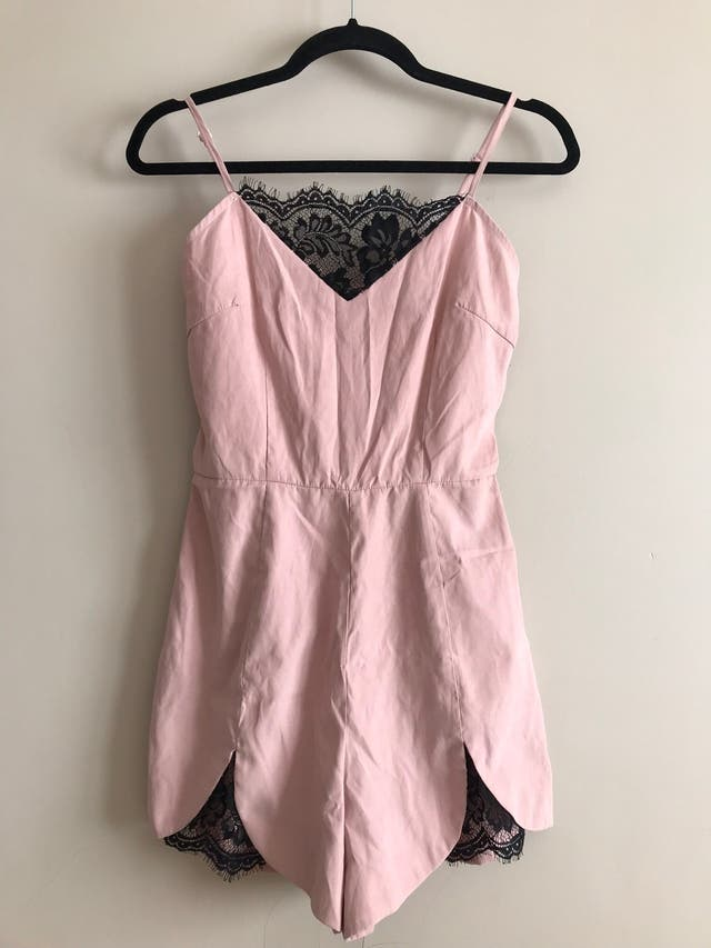 MISSGUIDED pink and black lace insert playsuit