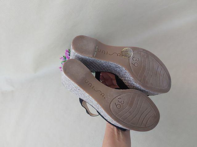 sandalias de cuña de piel Unisa Talla 39