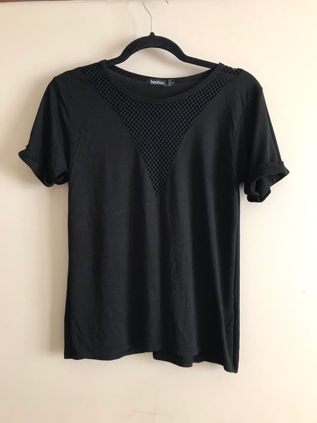 V-neck fishnet T-shirt