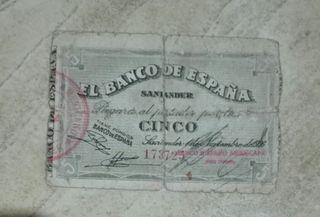 5 pesetas Santander 1936
