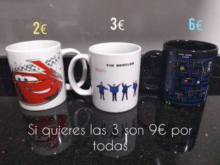 TAZAS Disney Rayo Mcqueen, The Beatles, Pacman