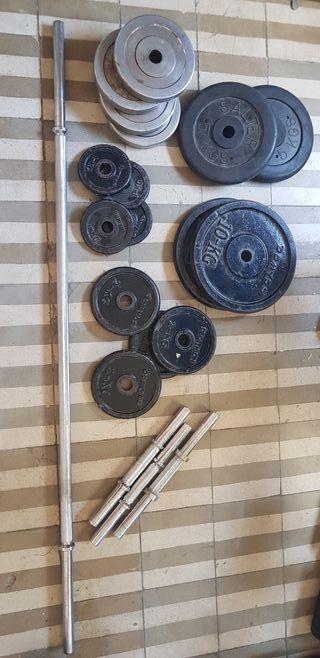 Conjunto de barras y discos de musculacion