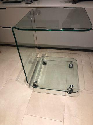 Mesa auxiliar vidrio transparente con ruedas