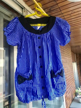 Blusa azul Kling de rayas, babydoll larga