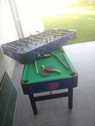 Futbolín convertible en mesa billar y ping pong