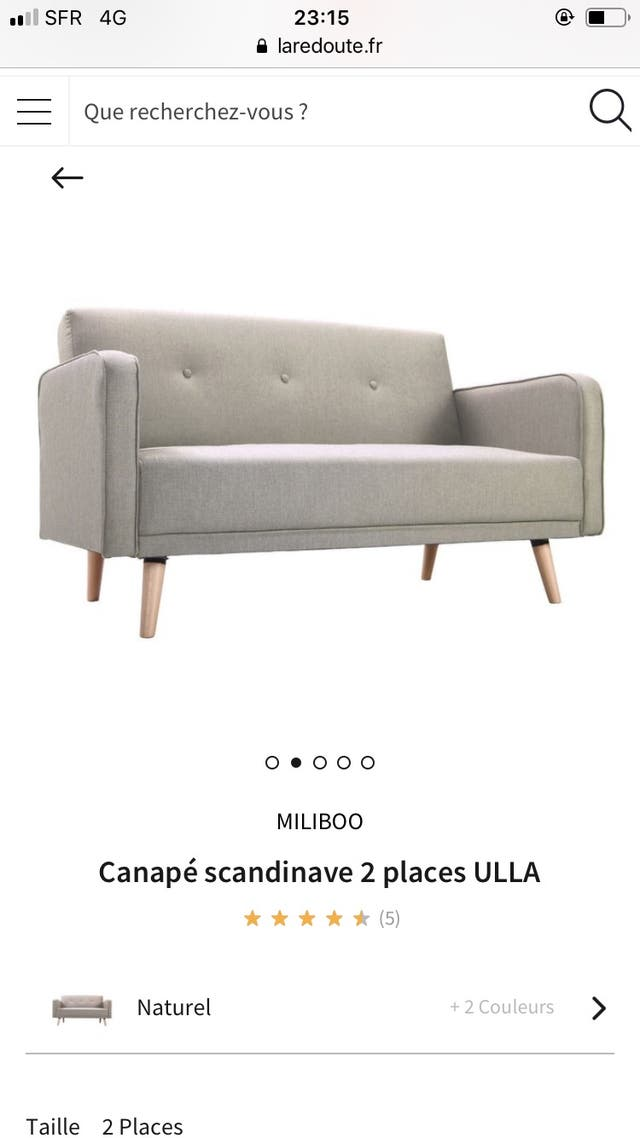 Canapé 2 places quasi-neuf, scandinave gris
