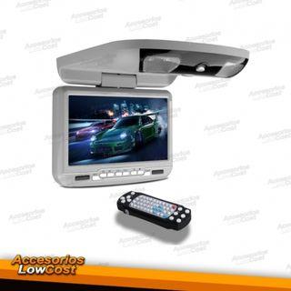 "PANTALLA D TECHO 9"" COLOR GRIS,REPRODUCTOR DVD USB"