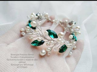 Pulsera madrina en tono verde Esmeralda / plata