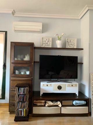 Mueble salón madera wengué (4 piezas)