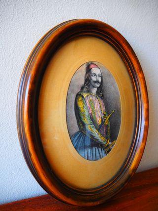 Grabado Siglo XIX. Markos Botzari. Héroe Griego