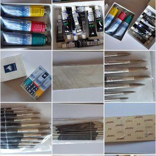 Lote de pinceles y pinturas artistico