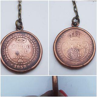 Moneda cobre MEDIO REAL 1853