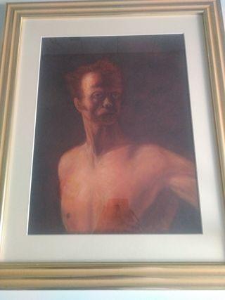 óleo sobre lienzo , cuadro enmarcado sin firma