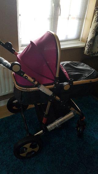3 in 1 baby pram+car seat and raincover