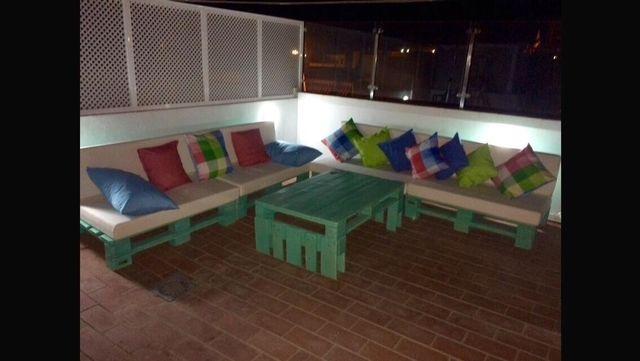 conjunto muebles palet exterior jardin