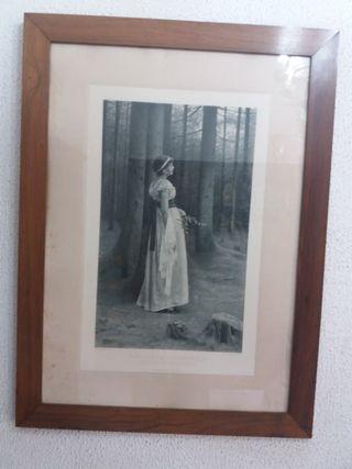 Cuadro mujer bosque 70 €