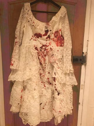 Wedding dress with fake blood