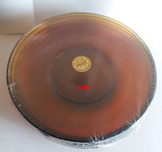 6 platos para tazon DURALEX ambar años 80