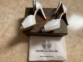 Zapatos piel novia, T. 39. 10 cm tacón (real 7 cm)