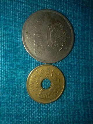 moneda de 25 pesetas 1975 y 1996