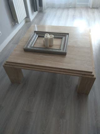 mesa baja mármol travertino