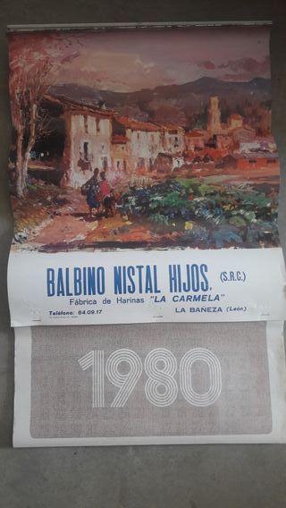 CALENDARIO DE PARED COMPLETO AÑO 1980