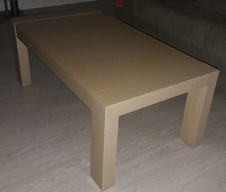 mesa de centro abatible color pino miel