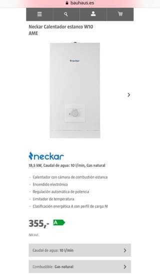 Calentador de agua Neckar W10 NUEVO gas natural