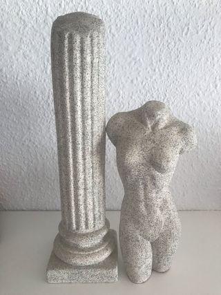 2 esculturas de escayola pintadas a mano