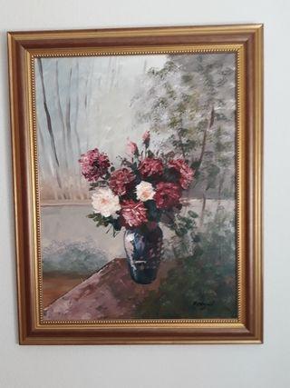 cuadro jarrón con flores.