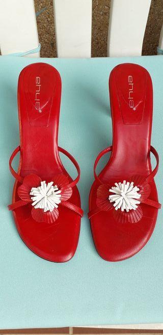 Sandalias rojo blanco