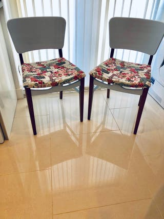 Two Hard Wood Kitchen Chairs