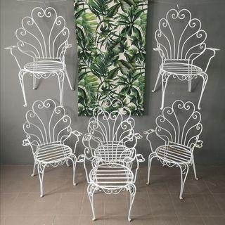 sillas de Jardin hierro maciza con brazos años 40