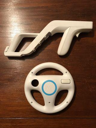 Accesorios volante y pistola Wii