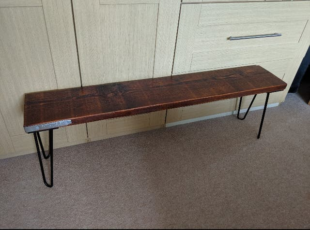 Dark Oak Bench, with Steel Hairpin Legs