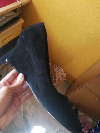 zapatos cuña negro t40-41