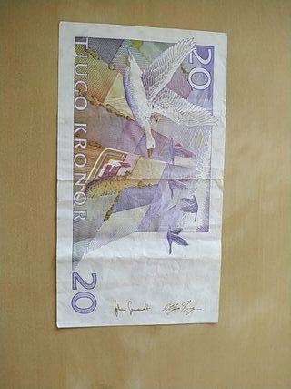 Billete Sueco 20 coronas