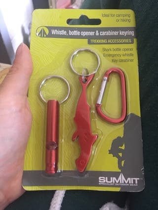Whistle, bottle opener and carabiner keyring