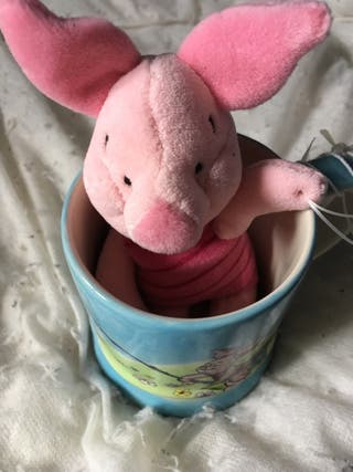 Winnie the Pooh's piglet teddy and cup