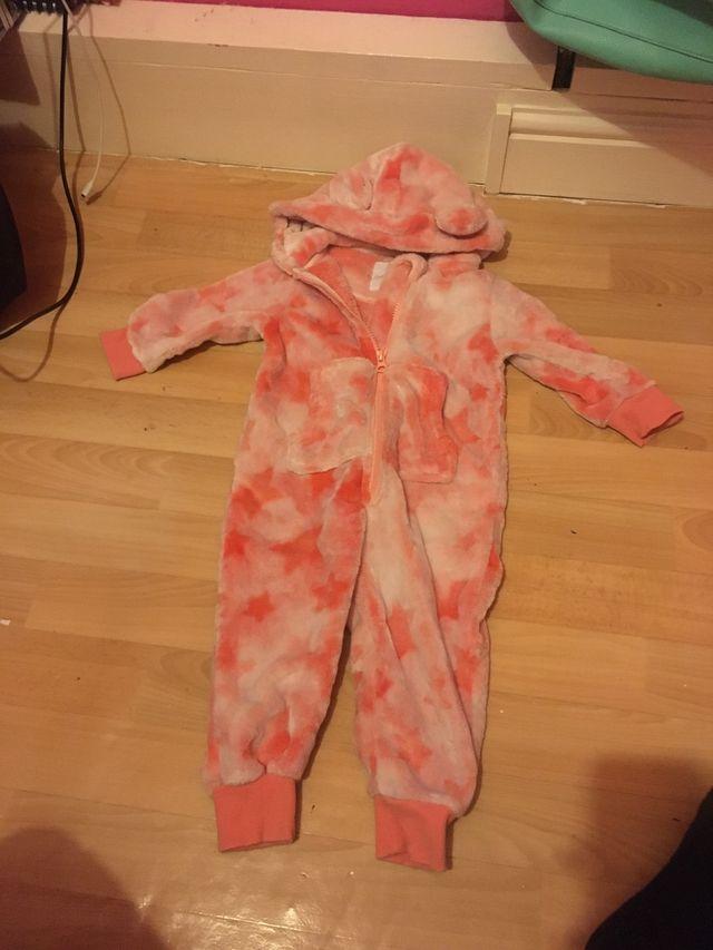Pink fluffy cute zip up onesie
