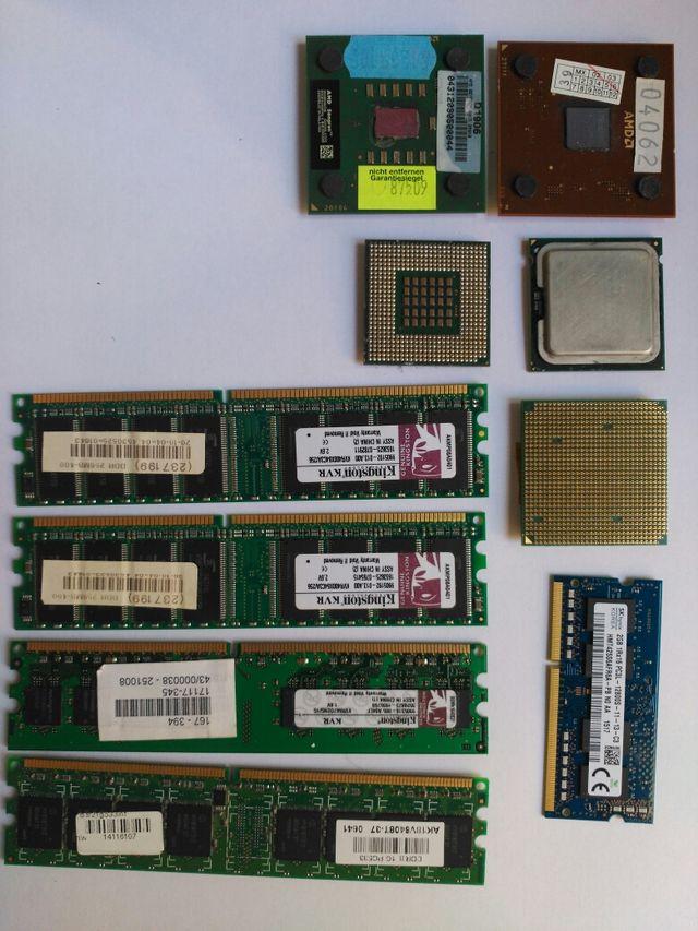 Microprocesadores pentium y AMD y memorias RAM