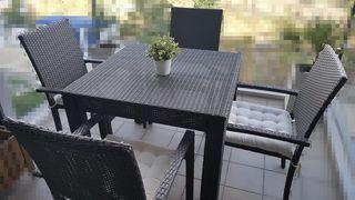 Conjunto Mesa y 4 sillas rattan terraza o jardín