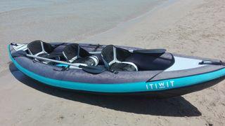 kayak canoa hinchable travesía 2/3 plazas azul