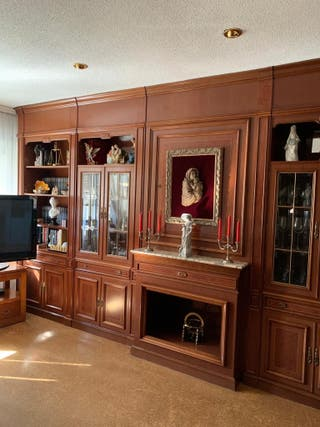 Mueble de salón Boiserie, roble, mesa y 6 sillas