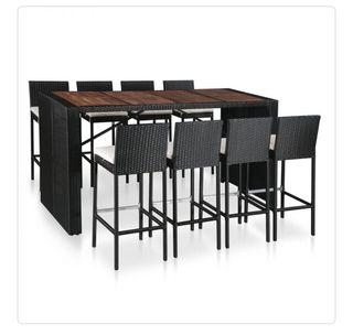 Mesa y sillas bar jardín 9 pzas ratán sintético