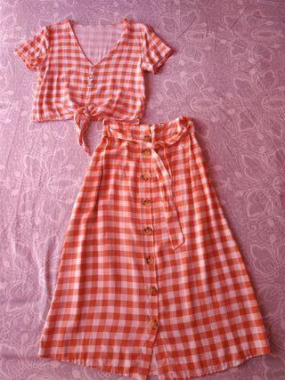 conjunto falda midi y camisa y vestido+cinturón