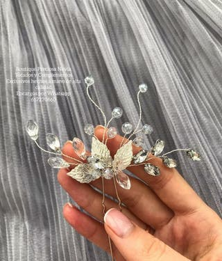 Horquilla Artesanal novia invitada peina en plata