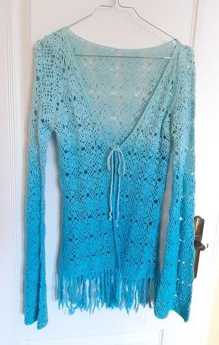 chaqueta crochet turquesa